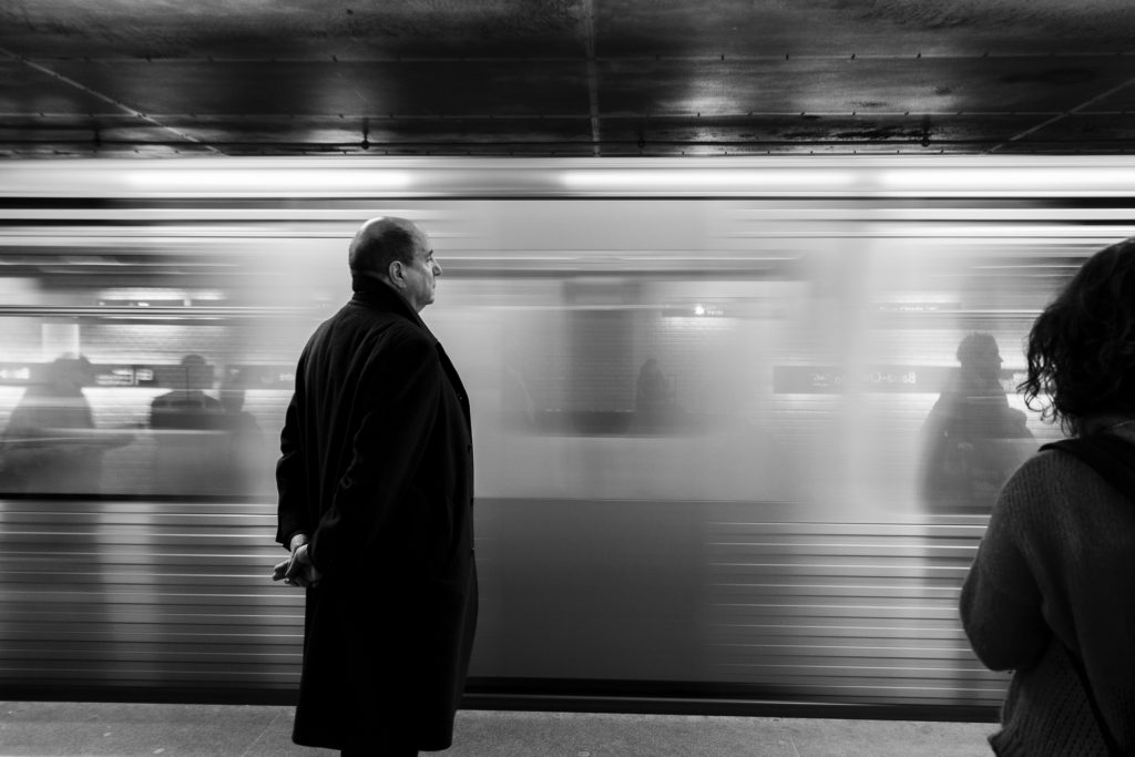 man in a train station