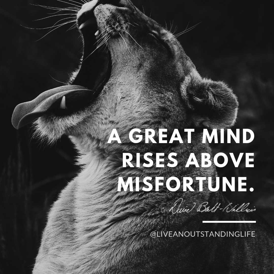 A great mind rises above misfortune.